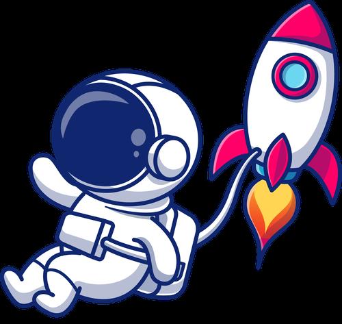 Astronaut Schweberakete noshadow